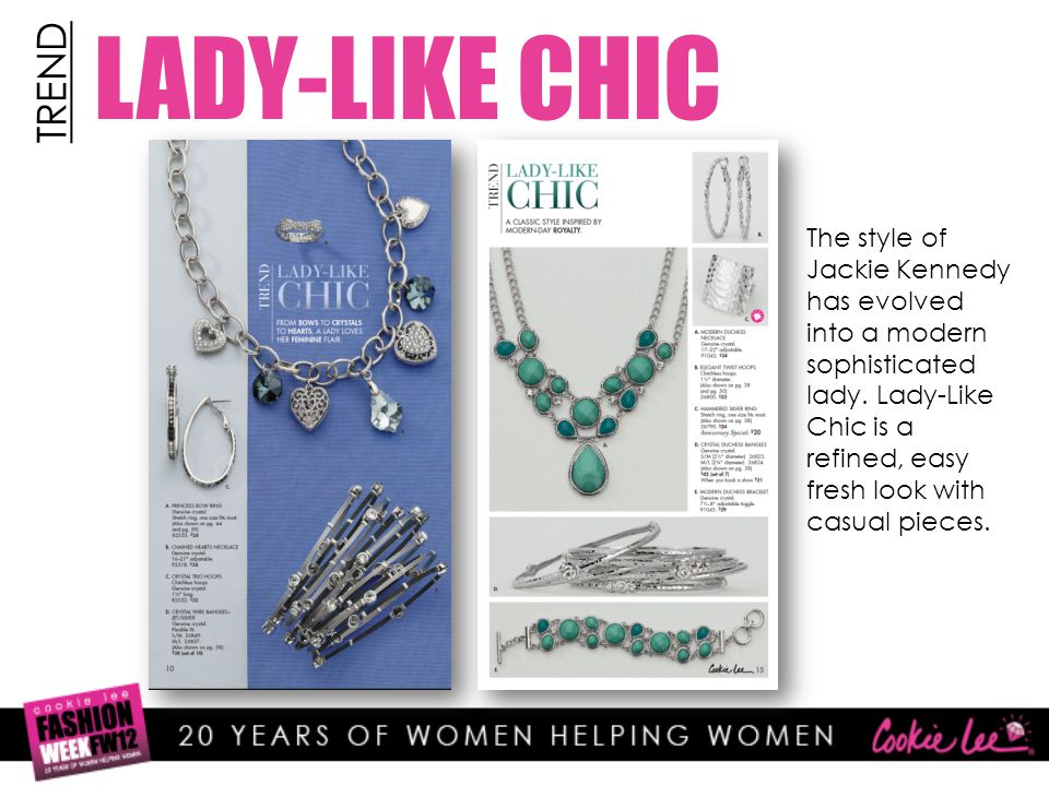 LADY-LIKE CHIC TREND The style of Jackie Kennedy has evolved into a modern sophisticated lady.