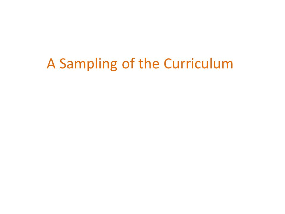 A Sampling of the Curriculum
