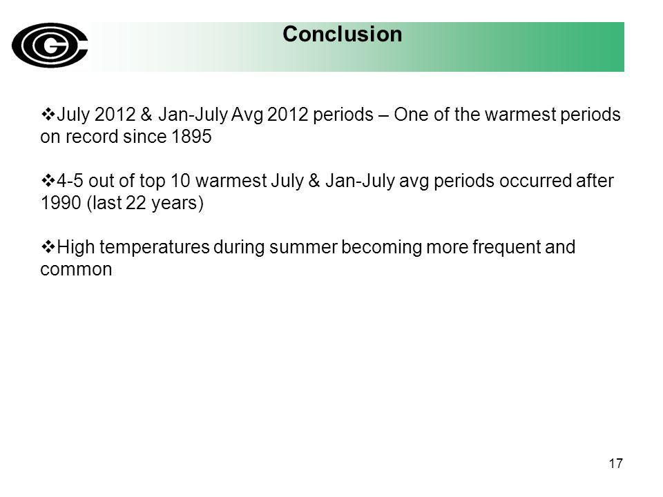 July 2012 & Jan-July Avg 2012 periods – One of the warmest periods on record since 1895 4-5 out of top 10 warmest July & Jan-July avg periods occurred after 1990 (last 22 years) High temperatures during summer becoming more frequent and common 17 Conclusion