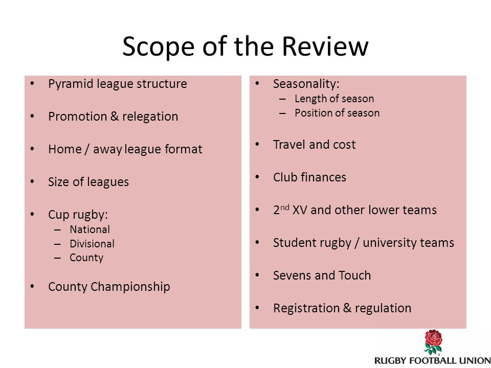 Competition review DOCs: Initial consultations, Jan – Mar 2012 Players & Coaches: Market research project via Fresh Minds, May – Oct 2012 CBs: CB league organisers, etc., in conference on w/e of 26-27 May CB visits / quaire, July – October 2012 Clubs: Pilot survey through RDOs in NW in Mar – May 2012 Roll-out to other regions, Jul – Oct 2012 Sample club interviews, Jul – Aug 2012 NCA: Executive meeting, Mon 2 April NCA club quaire, Sept – Nov 2012 RFUW: Discrete internal review project shaped in line with RFU review SRFU: Discrete internal review project shaped in line with RFU review Referees: Questionnaire to referee societies, Apr – May 2012 National moderation of outputs, June 2012 Regional staff: Questionnaire to RDOs and CRCs, Jul – Aug 2012