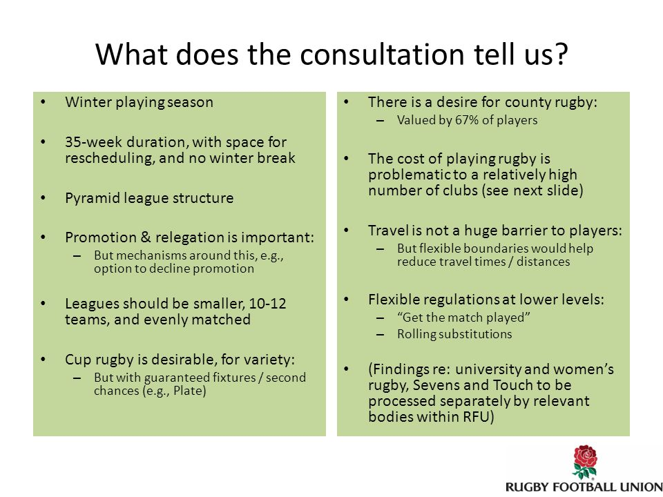 What does the consultation tell us.