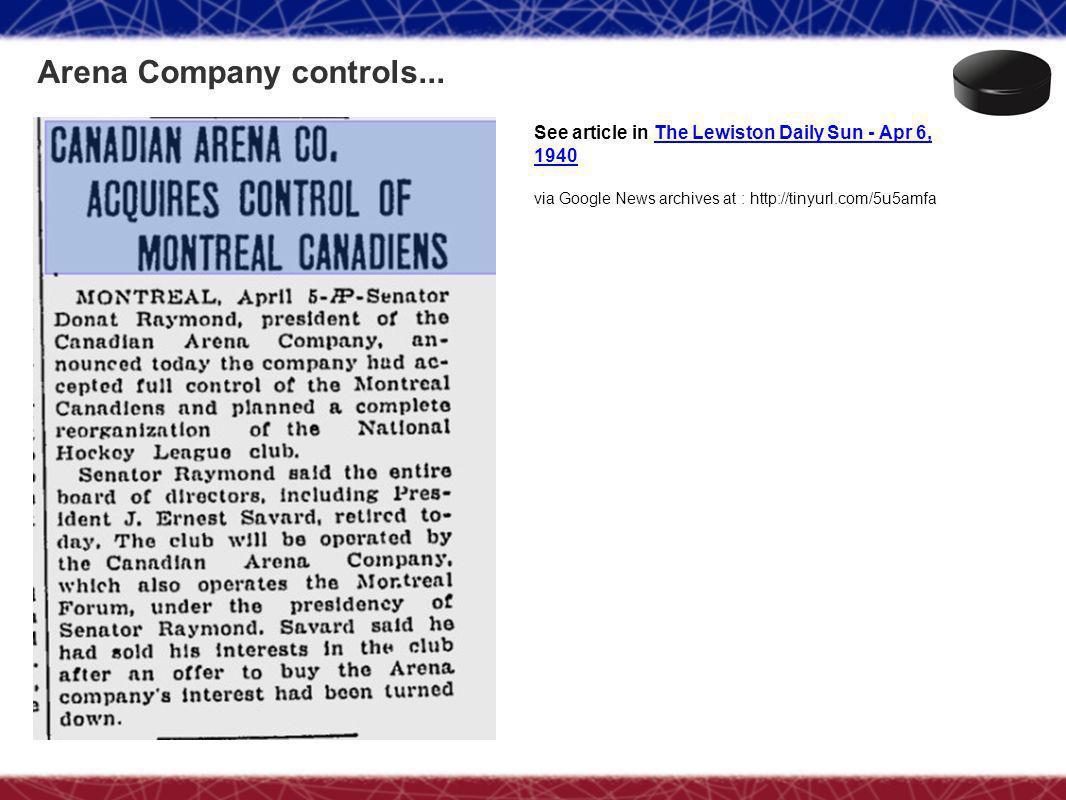 Arena Company controls...
