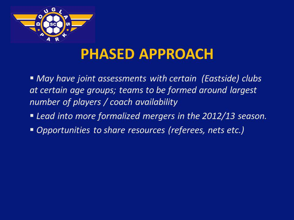 PHASED APPROACH May have joint assessments with certain (Eastside) clubs at certain age groups; teams to be formed around largest number of players /