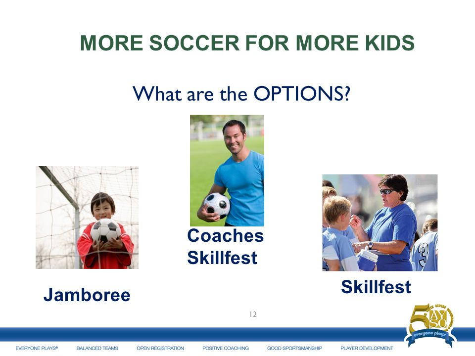 What are the OPTIONS 12 MORE SOCCER FOR MORE KIDS Jamboree Skillfest Coaches Skillfest