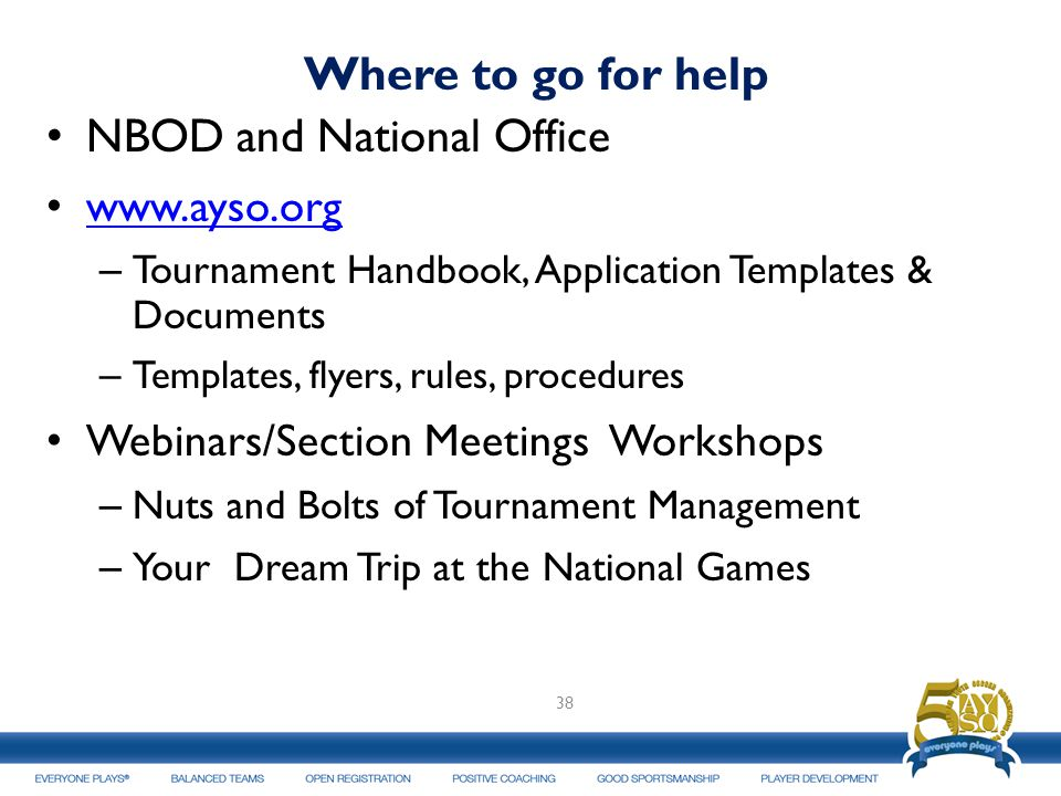 Where to go for help NBOD and National Office www.ayso.org – Tournament Handbook, Application Templates & Documents – Templates, flyers, rules, procedures Webinars/Section Meetings Workshops – Nuts and Bolts of Tournament Management – Your Dream Trip at the National Games 38
