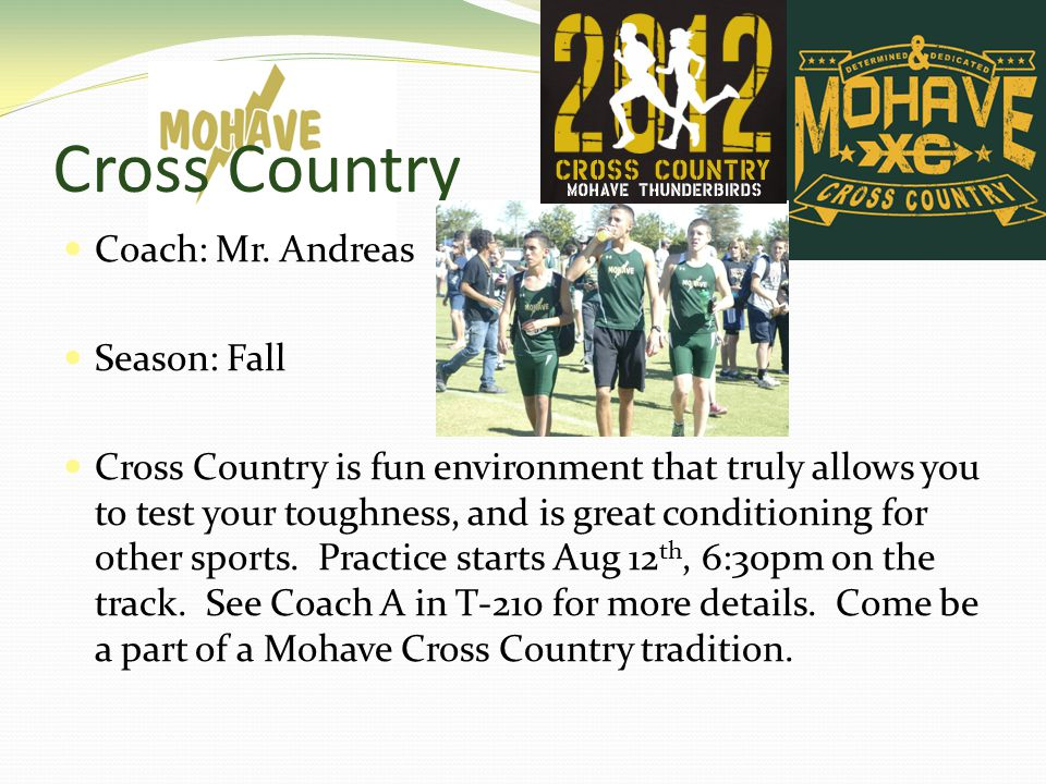 Cross Country Coach: Mr.