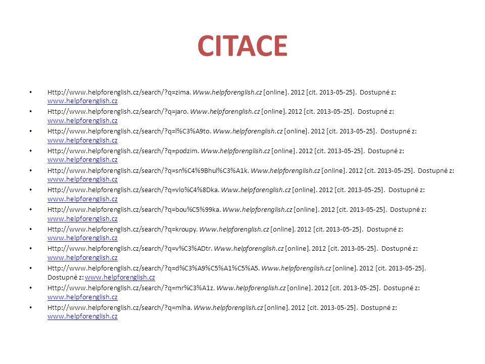 CITACE Http://www.helpforenglish.cz/search/ q=zima.