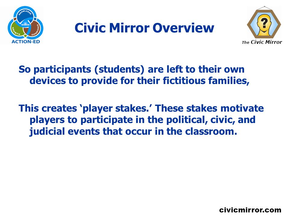 The Civic Mirror civicmirror.com Civic Mirror Overview So participants (students) are left to their own devices to provide for their fictitious families, This creates player stakes.