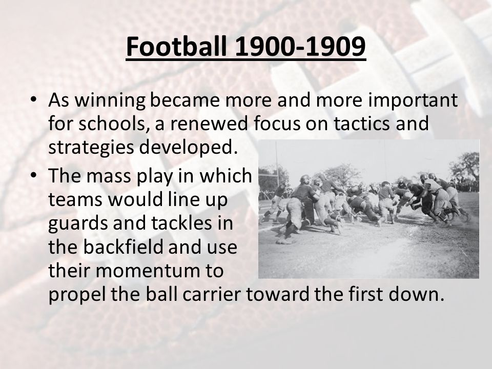 Football 1900-1909 The reforms around the country reflected reform movements occurring in business and industry throughout the nation.