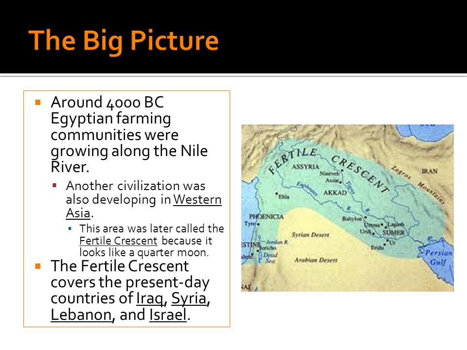 Around 4000 BC Egyptian farming communities were growing along the Nile River. Another civilization was also developing in Western Asia. This area was