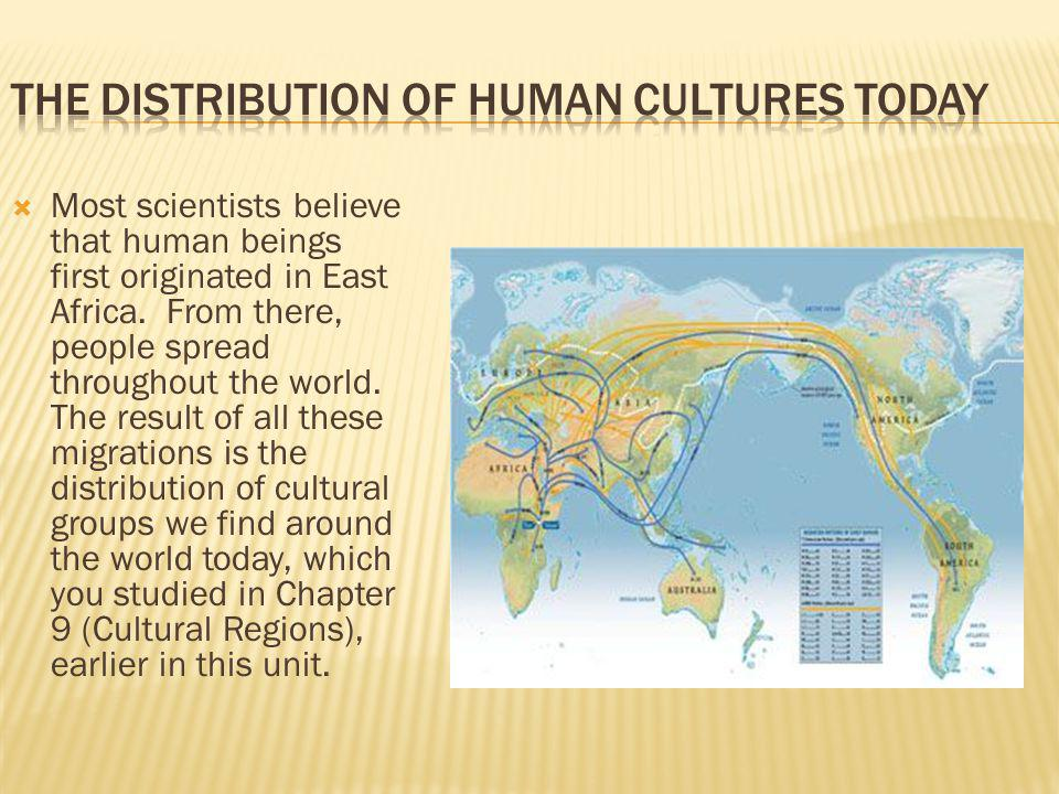Most scientists believe that human beings first originated in East Africa.