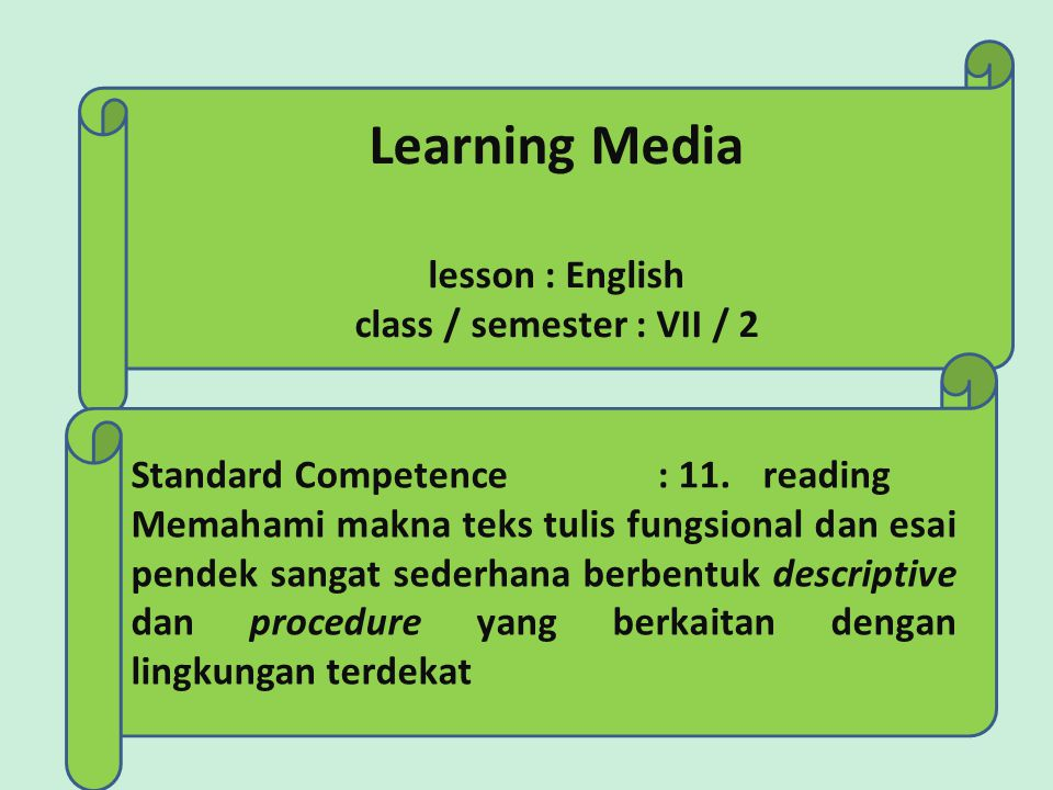 Learning Media lesson : English class / semester : VII / 2 Standard Competence : 11.