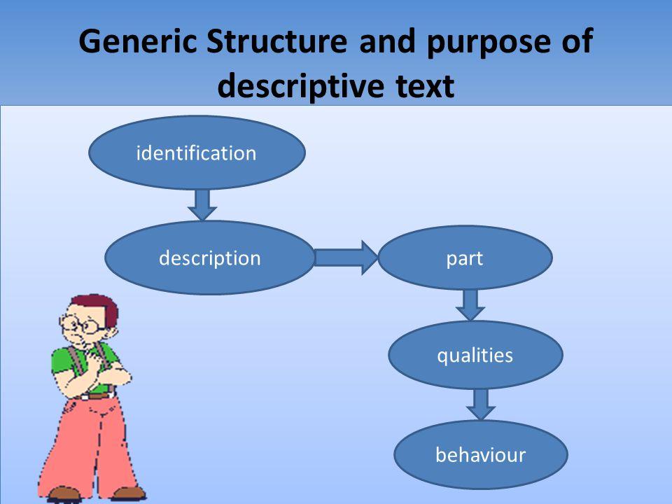 Generic Structure and purpose of descriptive text identification description part qualities behaviour