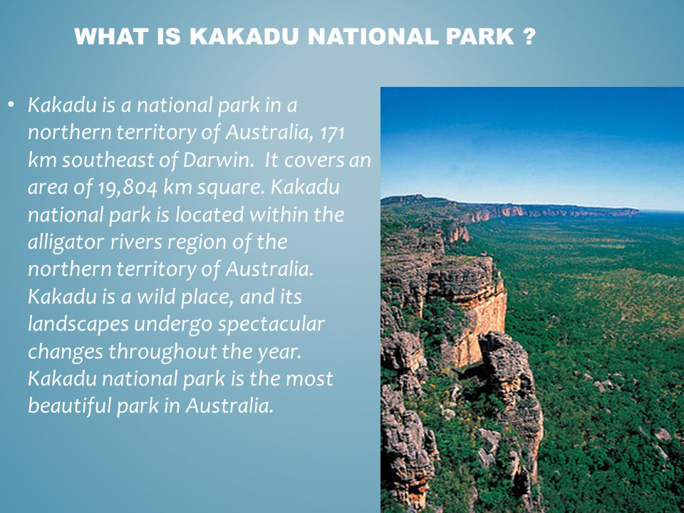 Kakadu is a national park in a northern territory of Australia, 171 km southeast of Darwin. It covers an area of 19,804 km square. Kakadu national par