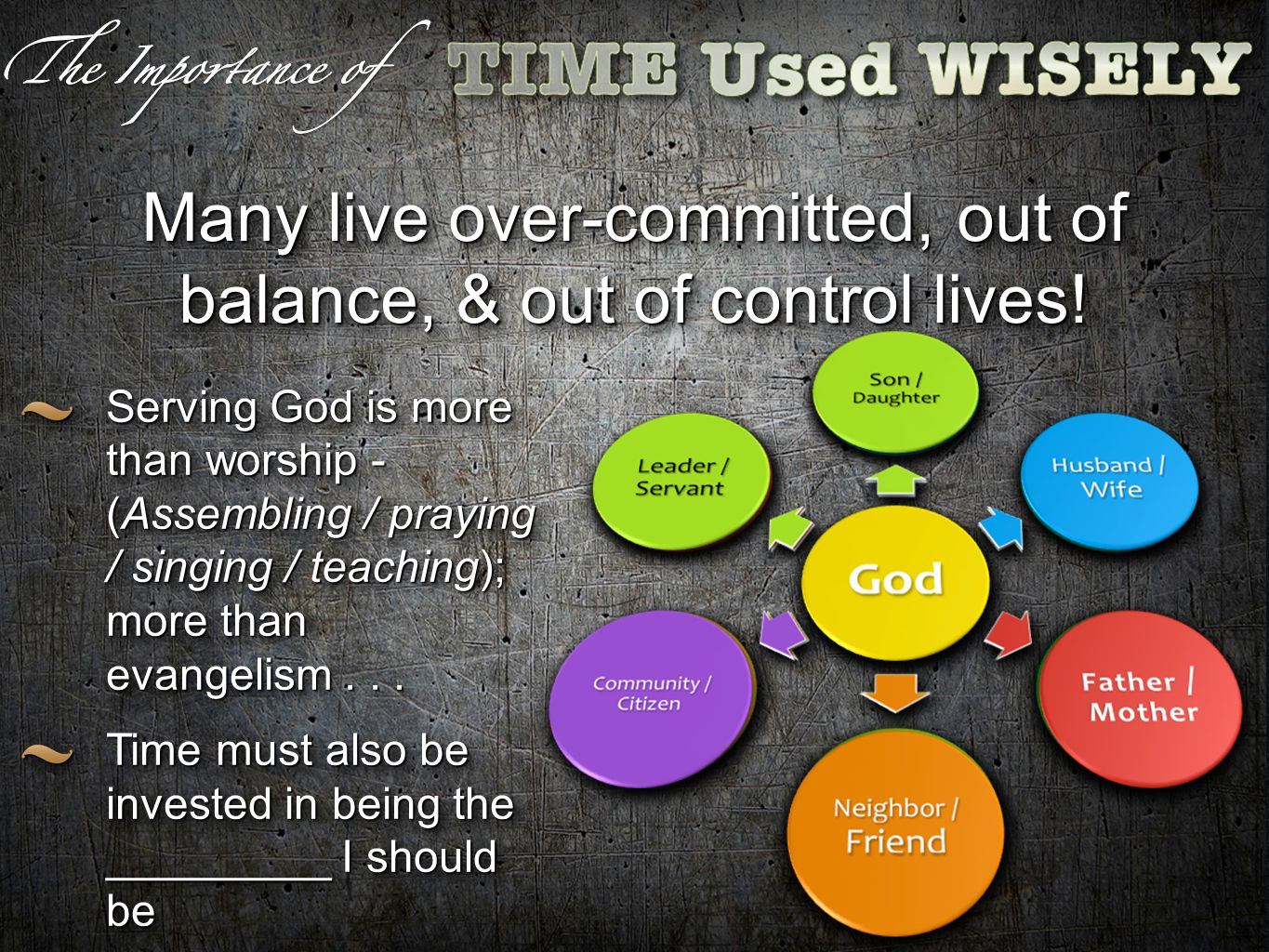 Many live over-committed, out of balance, & out of control lives.