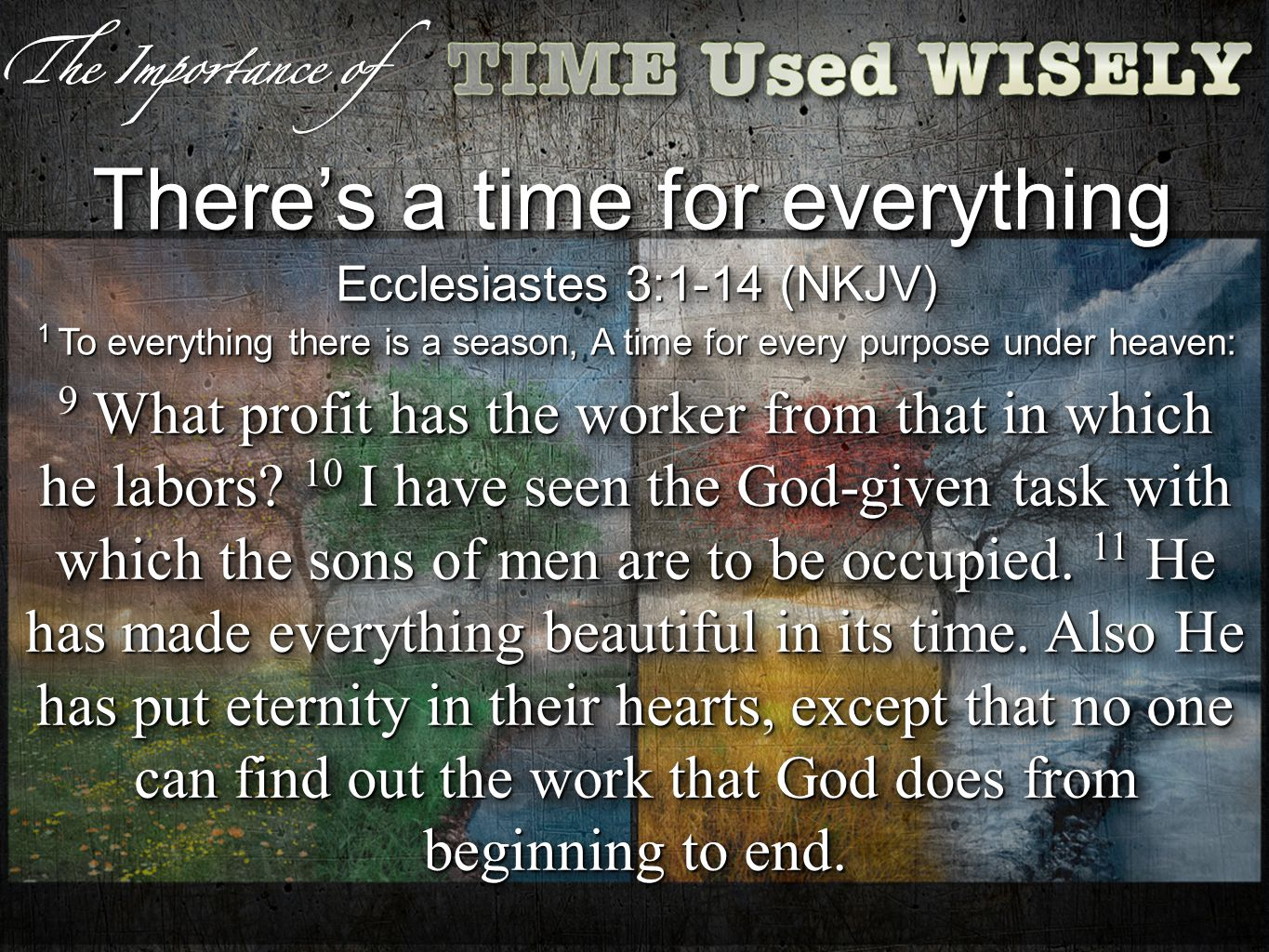 Ephesians 5:8-21 (NKJV) 18 And do not be drunk with wine, in which is dissipation; but be filled with the Spirit, 19 speaking to one another in psalms and hymns and spiritual songs, singing and making melody in your heart to the Lord, 20 giving thanks always for all things to God the Father in the name of our Lord Jesus Christ, 21 submitting to one another in the fear of God.