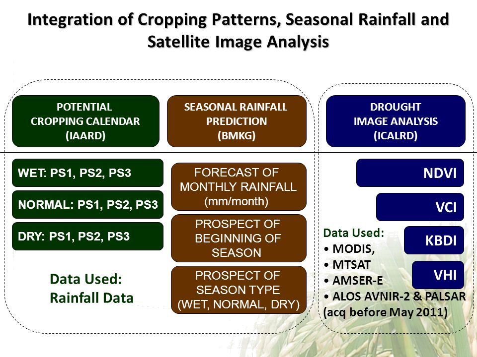 Integration of Cropping Patterns, Seasonal Rainfall and Satellite Image Analysis POTENTIAL CROPPING CALENDAR (IAARD) SEASONAL RAINFALL PREDICTION (BMKG) DROUGHT IMAGE ANALYSIS (ICALRD) WET: PS1, PS2, PS3 NORMAL: PS1, PS2, PS3 DRY: PS1, PS2, PS3 FORECAST OF MONTHLY RAINFALL (mm/month) PROSPECT OF BEGINNING OF SEASON PROSPECT OF SEASON TYPE (WET, NORMAL, DRY) NDVI KBDI VHI VCI Data Used: Rainfall Data Data Used: MODIS, MTSAT AMSER-E ALOS AVNIR-2 & PALSAR (acq before May 2011)
