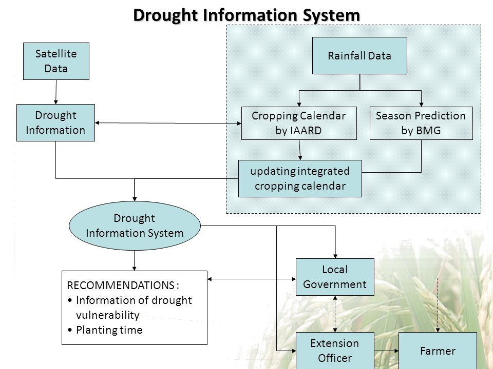 Drought Information System Satellite Data Local Government Farmer Drought Information Rainfall Data Extension Officer Season Prediction by BMG Cropping Calendar by IAARD updating integrated cropping calendar RECOMMENDATIONS : Information of drought vulnerability Planting time Drought Information System