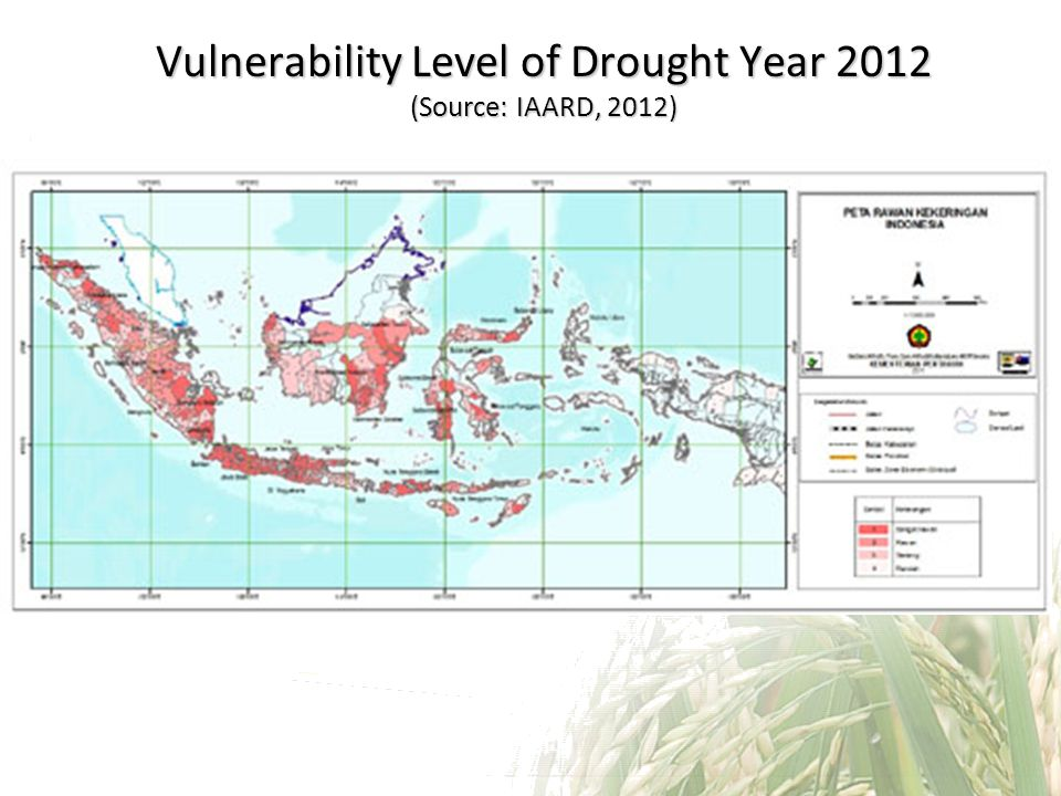 Vulnerability Level of Drought Year 2012 (Source: IAARD, 2012)