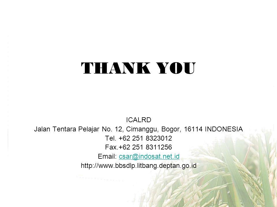 THANK YOU ICALRD Jalan Tentara Pelajar No. 12, Cimanggu, Bogor, 16114 INDONESIA Tel. +62 251 8323012 Fax.+62 251 8311256 Email: csar@indosat.net.idcsa
