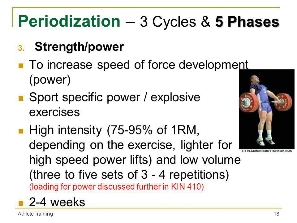 5 Phases Periodization – 3 Cycles & 5 Phases 3. Strength/power To increase speed of force development (power) Sport specific power / explosive exercis