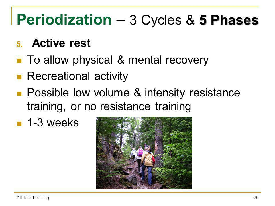 5 Phases Periodization – 3 Cycles & 5 Phases 5. Active rest To allow physical & mental recovery Recreational activity Possible low volume & intensity
