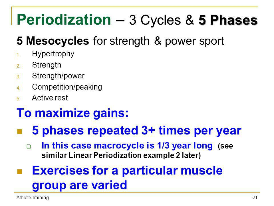 5 Phases Periodization – 3 Cycles & 5 Phases 5 Mesocycles for strength & power sport 1. Hypertrophy 2. Strength 3. Strength/power 4. Competition/peaki