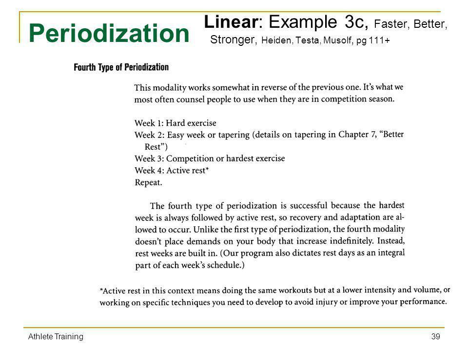 Periodization Linear: Example 3c, Faster, Better, Stronger, Heiden, Testa, Musolf, pg 111+ 39 Athlete Training
