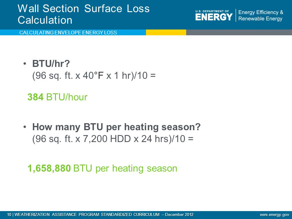 10 | WEATHERIZATION ASSISTANCE PROGRAM STANDARDIZED CURRICULUM – December 2012 eere.energy.gov BTU/hr.