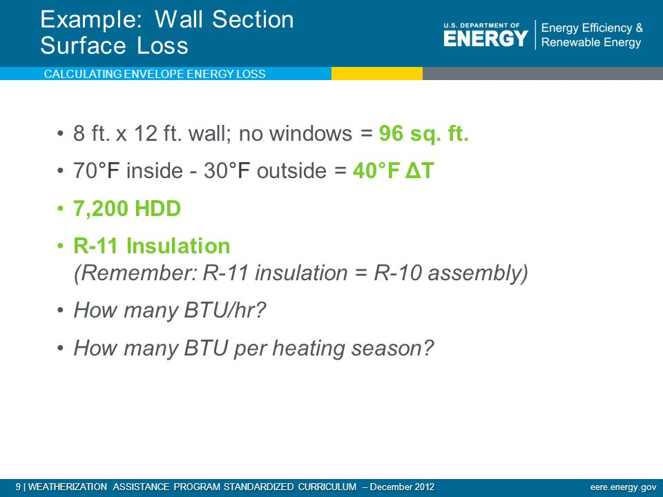 9 | WEATHERIZATION ASSISTANCE PROGRAM STANDARDIZED CURRICULUM – December 2012 eere.energy.gov 8 ft.