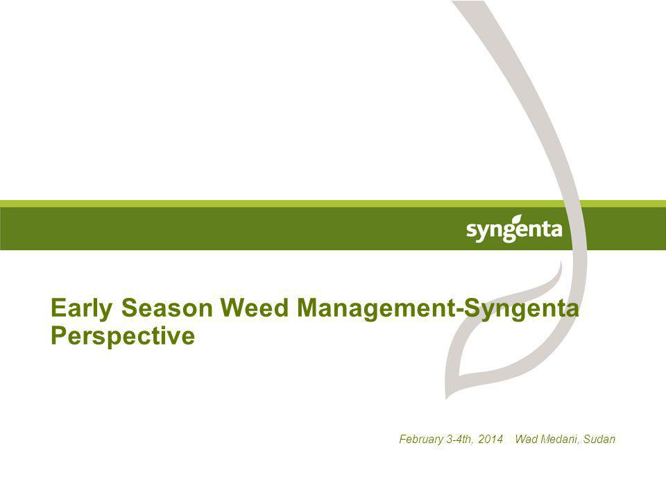February 3-4th, 2014 Wad Medani, Sudan Early Season Weed Management-Syngenta Perspective