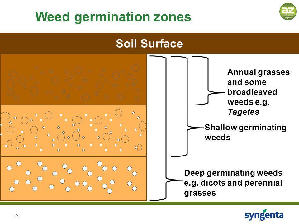 12 Weed germination zones Deep germinating weeds e.g.