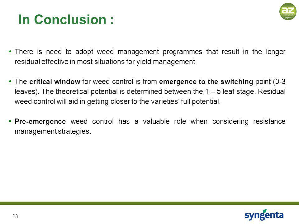 23 There is need to adopt weed management programmes that result in the longer residual effective in most situations for yield management The critical
