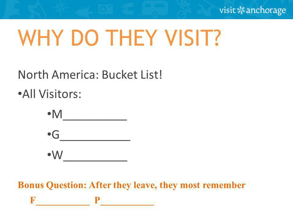 WHY DO THEY VISIT. North America: Bucket List.