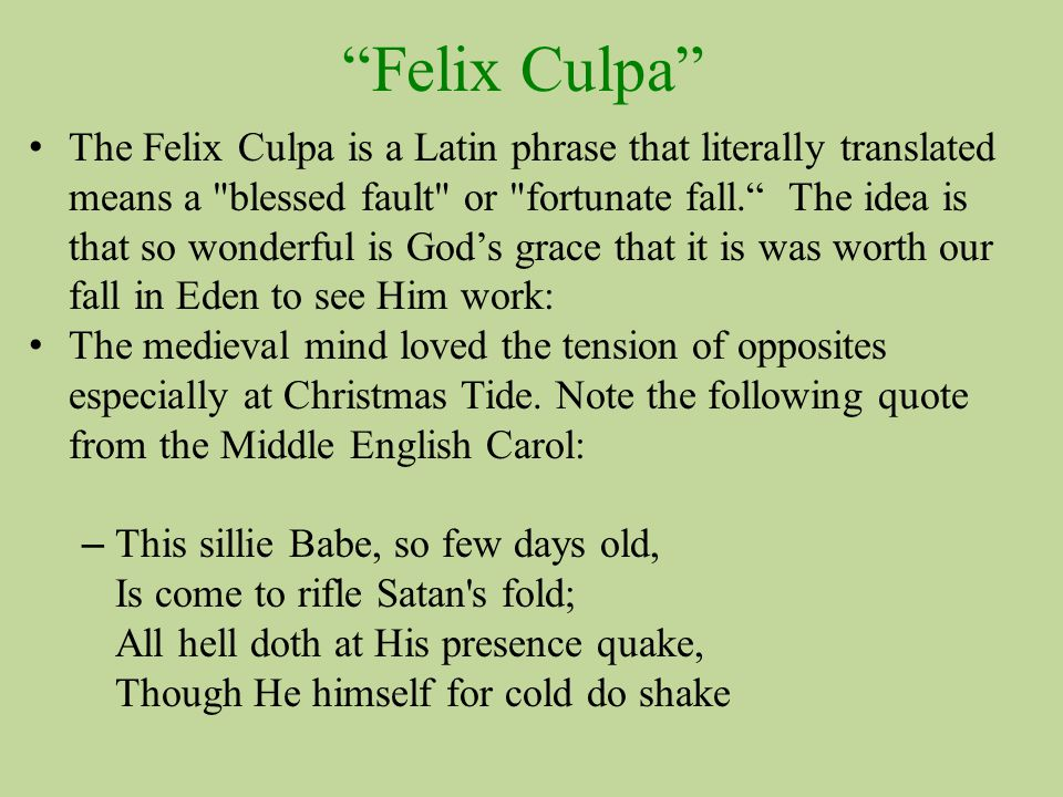 Felix Culpa The Felix Culpa is a Latin phrase that literally translated means a