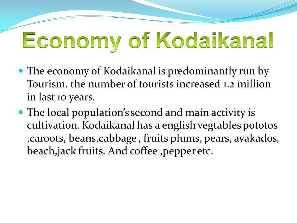 The economy of Kodaikanal is predominantly run by Tourism.