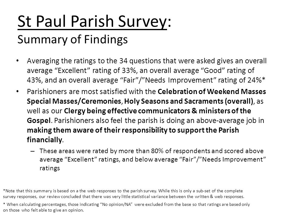 Averaging the ratings to the 34 questions that were asked gives an overall average Excellent rating of 33%, an overall average Good rating of 43%, and an overall average Fair/Needs Improvement rating of 24%* Parishioners are most satisfied with the Celebration of Weekend Masses Special Masses/Ceremonies, Holy Seasons and Sacraments (overall), as well as our Clergy being effective communicators & ministers of the Gospel.