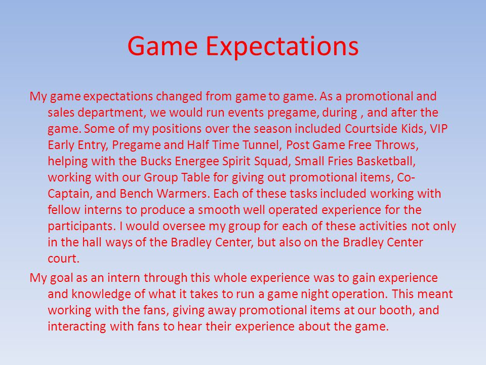 Game Expectations My game expectations changed from game to game.