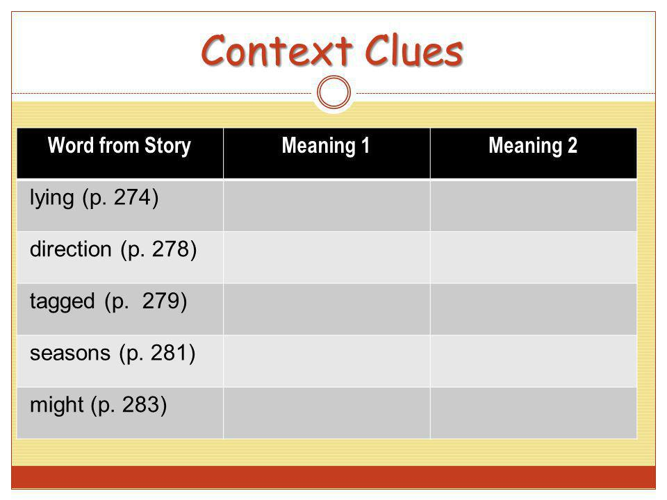 Context Clues Word from StoryMeaning 1Meaning 2 lying (p. 274) direction (p. 278) tagged (p. 279) seasons (p. 281) might (p. 283)