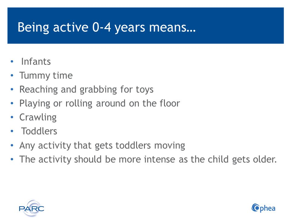 Being active 0-4 years means… Infants Tummy time Reaching and grabbing for toys Playing or rolling around on the floor Crawling Toddlers Any activity