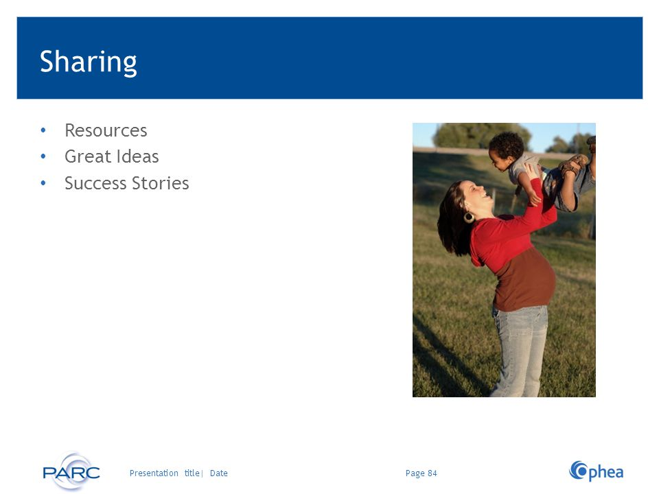 Sharing Resources Great Ideas Success Stories Page 84Presentation title| Date