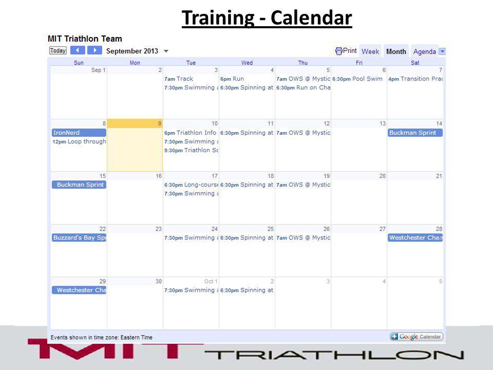 Training - Calendar