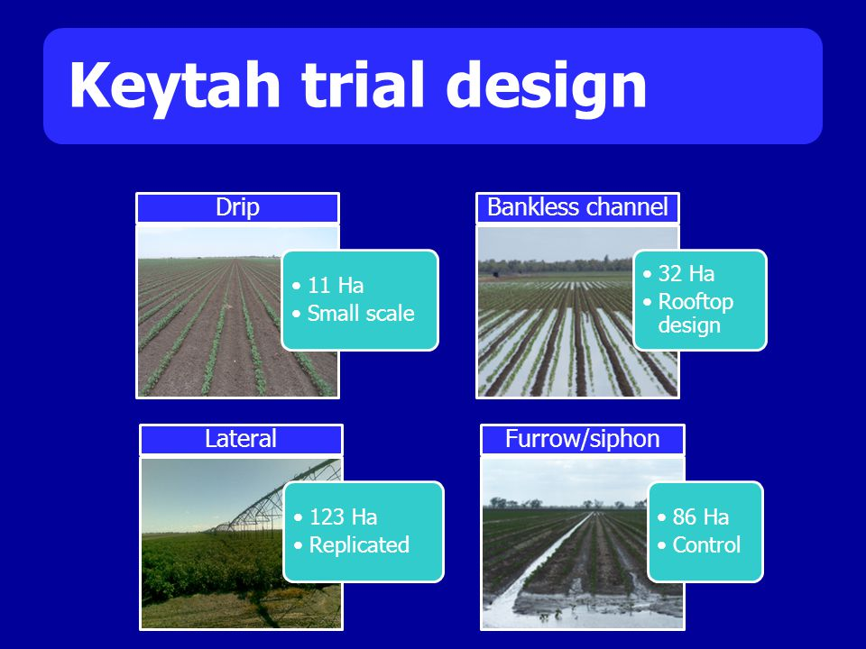 Keytah trial design 11 Ha Small scale Drip 32 Ha Rooftop design Bankless channel 123 Ha Replicated Lateral 86 Ha Control Furrow/siphon