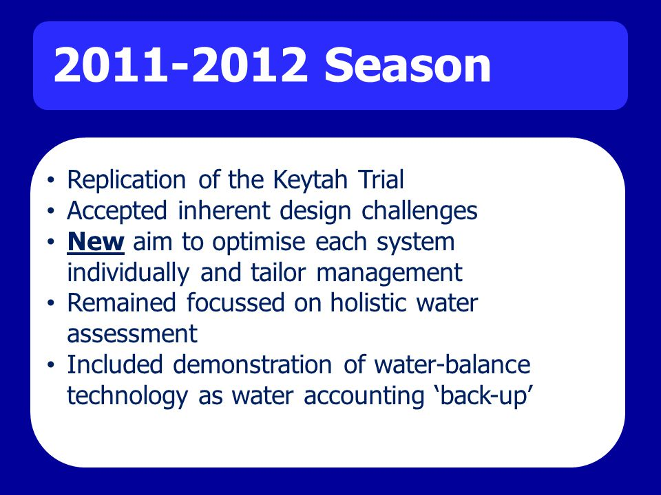 2011-2012 Season Replication of the Keytah Trial Accepted inherent design challenges New aim to optimise each system individually and tailor management Remained focussed on holistic water assessment Included demonstration of water-balance technology as water accounting back-up