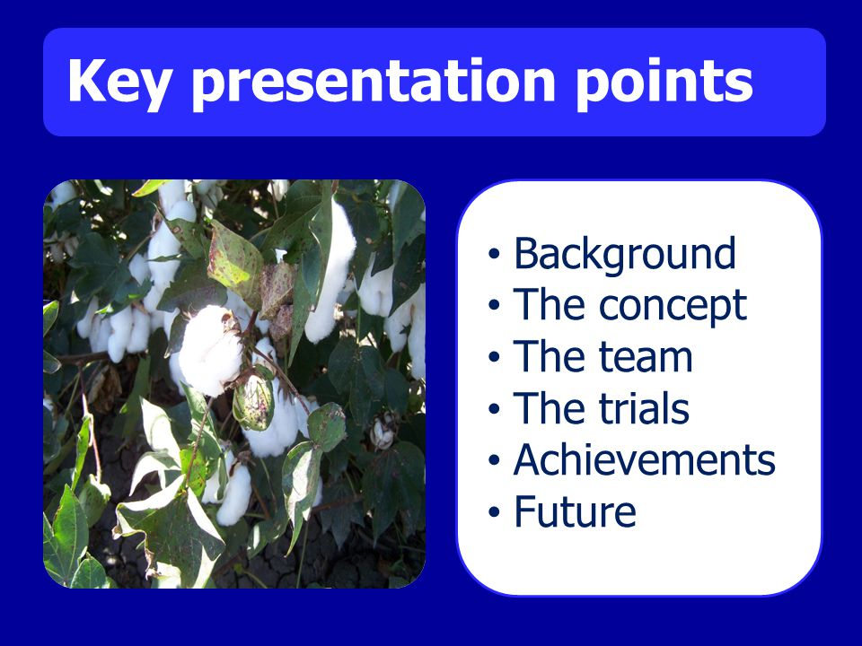Key presentation points Background The concept The team The trials Achievements Future