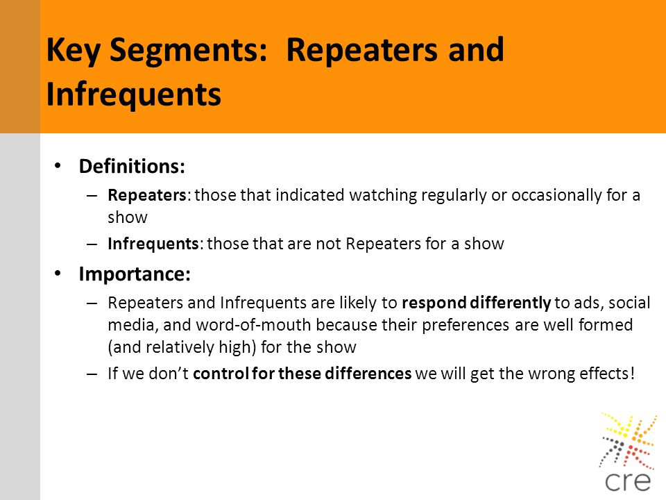 Definitions: – Repeaters: those that indicated watching regularly or occasionally for a show – Infrequents: those that are not Repeaters for a show Im