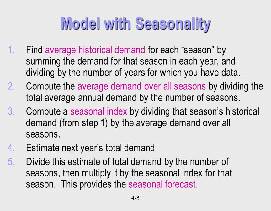 4-8 Model with Seasonality 1.Find average historical demand for each season by summing the demand for that season in each year, and dividing by the number of years for which you have data.