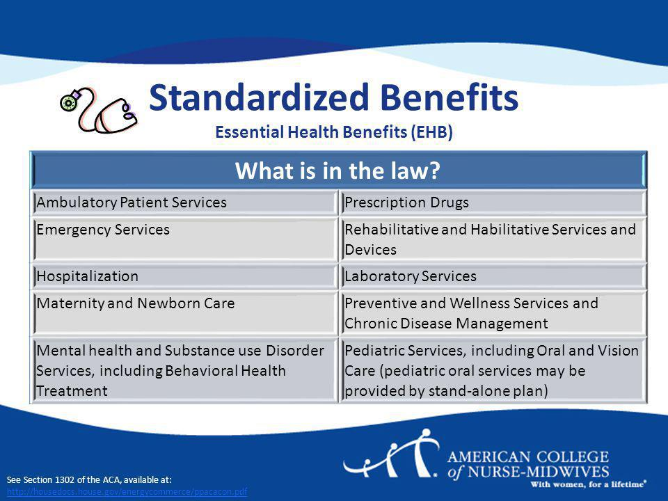 Standardized Benefits Essential Health Benefits (EHB) What is in the law.