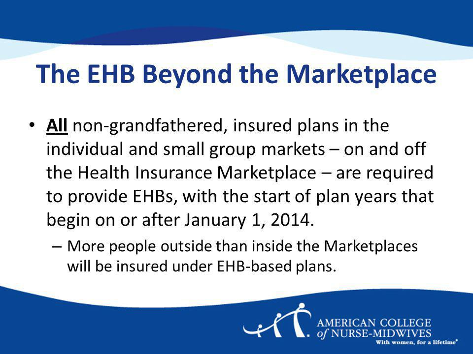 The EHB Beyond the Marketplace All non-grandfathered, insured plans in the individual and small group markets – on and off the Health Insurance Marketplace – are required to provide EHBs, with the start of plan years that begin on or after January 1, 2014.