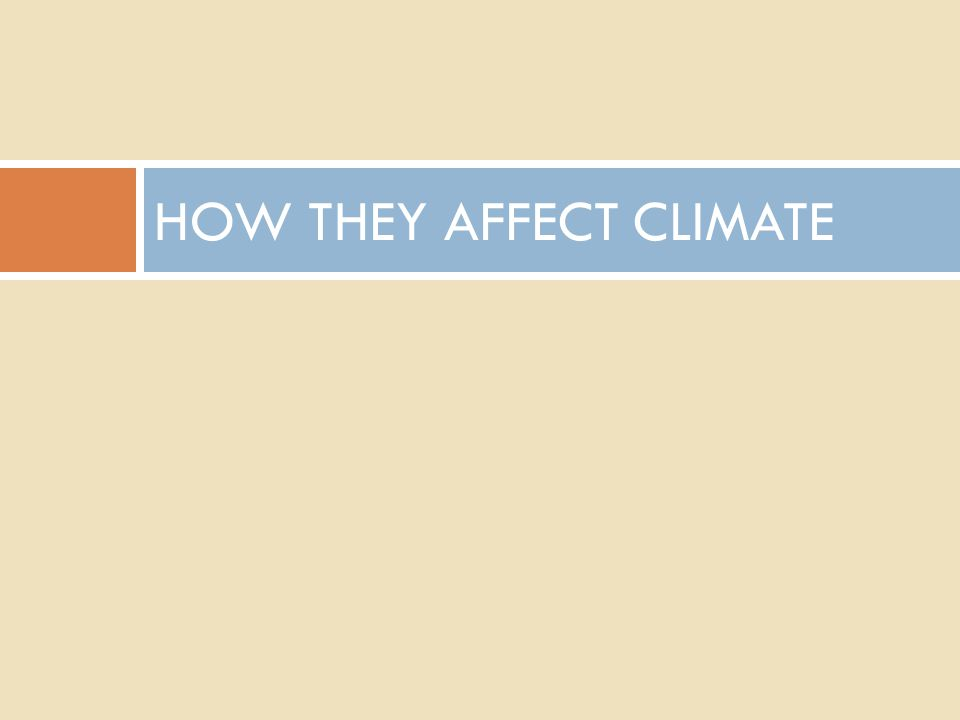 HOW THEY AFFECT CLIMATE